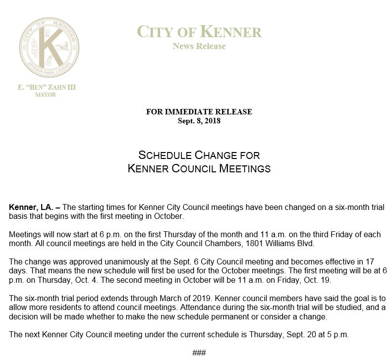 Kenner council meeting change release